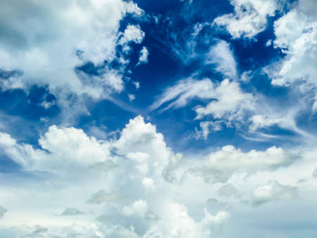 dramatic characters: heap clound blue sky background at midday in spring