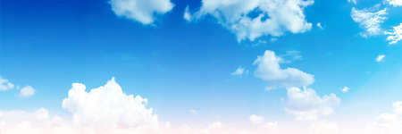 Panorama heap blue blur cloud sky and sunshine background