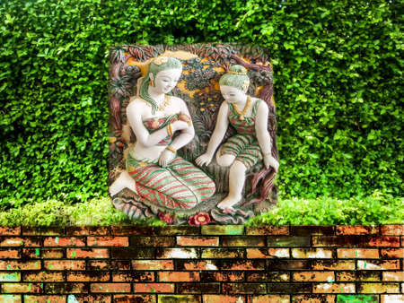 expanse: Ancient carving angel green garden and ancient brick wall
