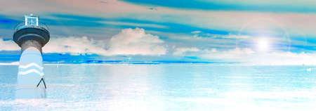 lighthouse blue sea sand sun  sunshine in a day panorama Stock Photo