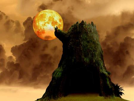 super blood moon death tree and heap dark cloud