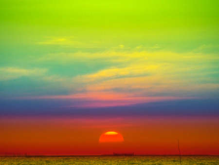 temperament: sunset colorful sky and cloud sunlight in the sea