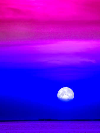 colorful cool tone sky and cloud moonlight in the sea
