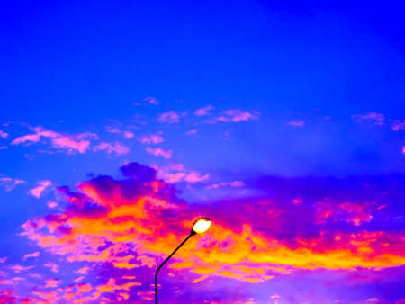 pilla light and colorful cloud in evening Stock Photo