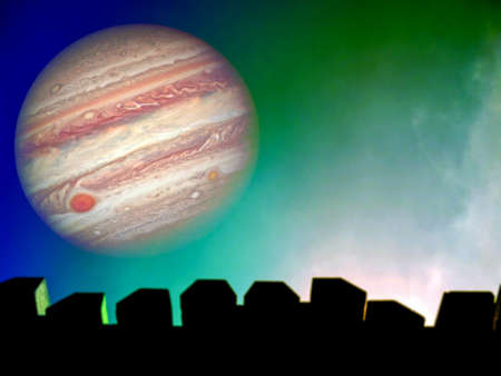jupiter silhouette of top wall and colorful sky in night, Elements of this image furnished by NASA Reklamní fotografie