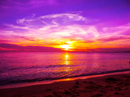 dramatic characters: Flame of sunlight when sunset in oversea Stock Photo