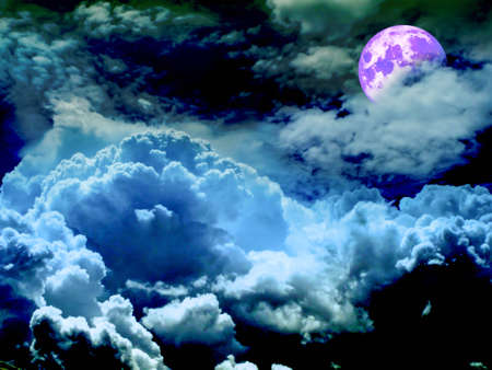 half purple moon and light blue cloud, Elements of this image furnished by NASA