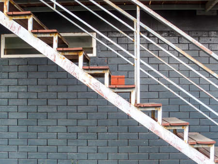 Metal Stair Outside Apartment Setup To Fire Exit Or Emergency Case Stock  Photo   87597690
