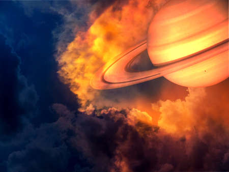 saturn red hot and space on sunset sky.