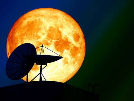 super blue blood moon over silhouette satellite dish night sky Stock Photo