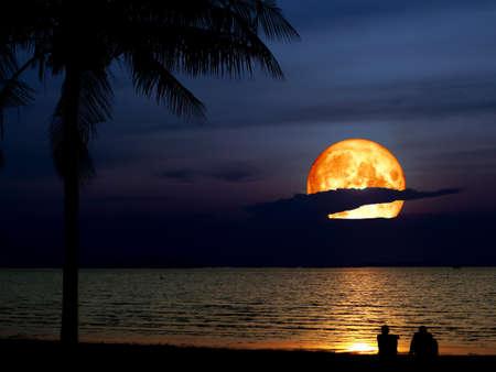 Super blaue Blutmond und Silhouette Kokosnuss Männer suchen Mond Standard-Bild - 94492016