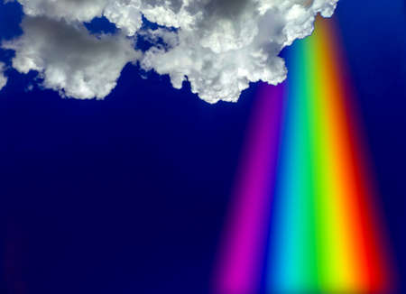 prayer rainbow from heaven white cloud and blue sky, concept god bless, gift of heaven, god, wish
