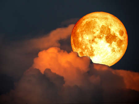 super full blood moon and moonlight cloud night sky