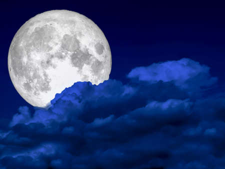 super full moon and heap dark blue cloud night sky, Reklamní fotografie