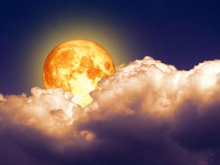 full blood moon light orange heap cloud night sky