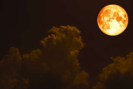 super full blood moon back silhouette cloud on night sky Stock Photo