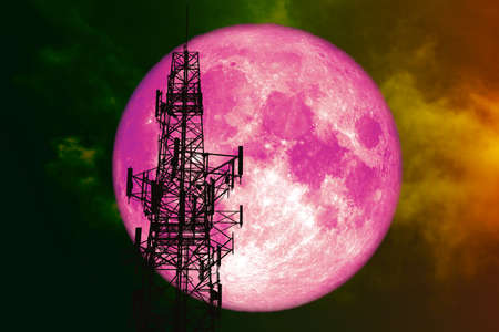 super pink moon back silhouette Antenna and night red cloud on sky