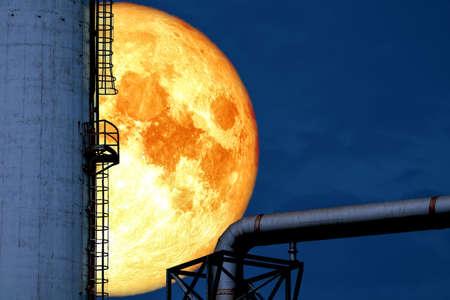 super blood moon back silhouette refinery oil tank