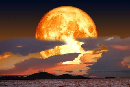 super snow blood moon back on silhouette cloud night sky
