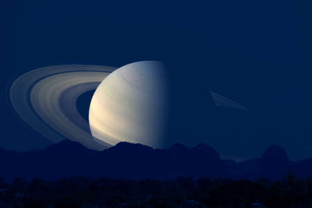 saturn back  silhouette mountain on cloud and night sky, Elements of this image furnished by