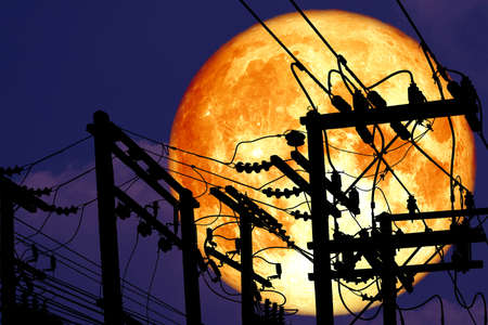 full crust moon back on silhouette power electric line on night sky, Elements of this image furnished by
