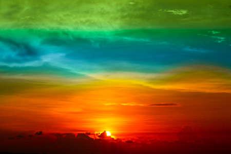 multicolor sunset orange cloud and sun on sky background