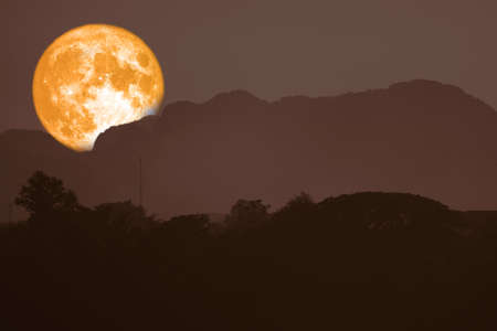 super blood moon back on silhouette mountain on night sky