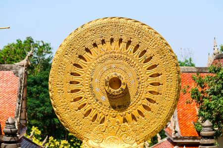 wheel of the law or Dhammachakka is symbol teaching of the Lord Buddha