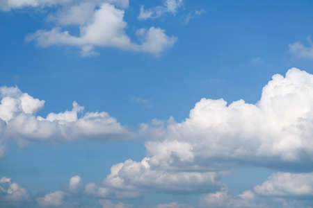 blue sky soft white huge heap cloud sunshine in summer background