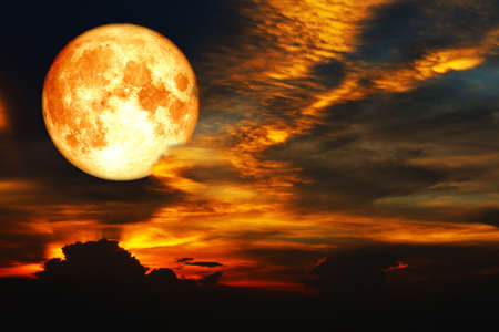 super blood moon on colorful cloud and rainbow on night sky