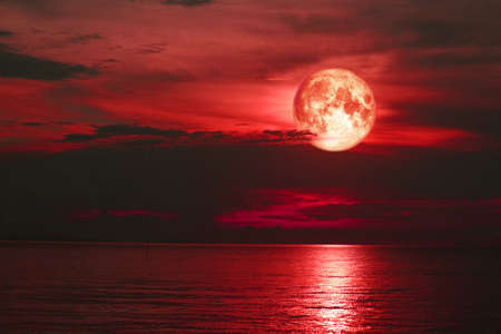 red sturgeon moon back on silhouette cloud on the sky