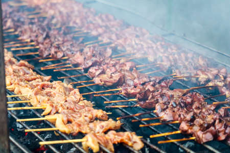 Grilled Skewer chicken and entrails of chicken stick thai style barbeque on stove Imagens