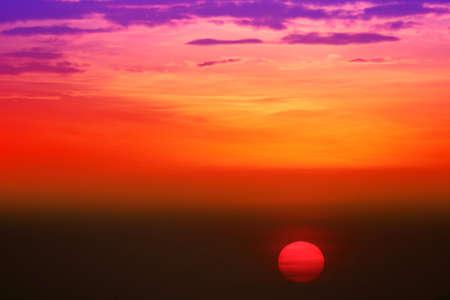 sunset on beautiful sky back evening cloud over twilight fishing on sea