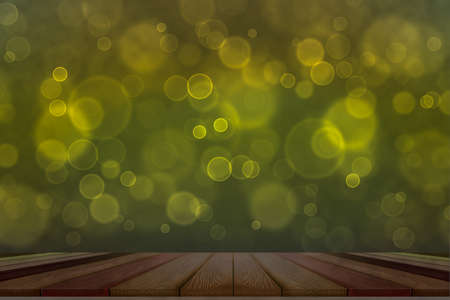 bokeh dark yellow top table and dark gold bubbles background
