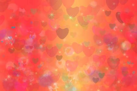 coeur coloré, étoile arc-en-ciel, bulle, et, coeur rouge, résumé, fond