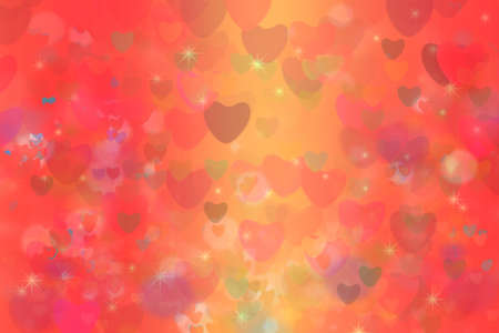 colorful heart star rainbow bubble and red heart abstract background