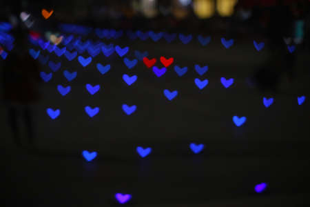 blue colorful bokeh and blur line heart shape love valentine day Imagens