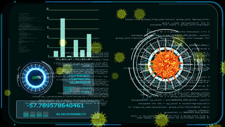 virus covid 19 digital graph analysis to find vaccine and medicine on monitor