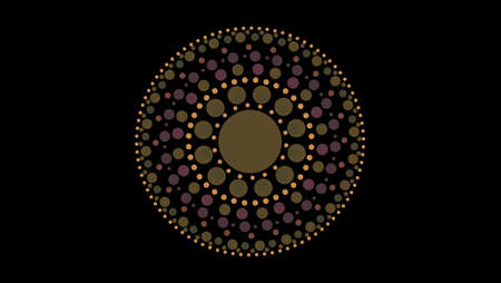 art dot fade circle and outside small circle earthware tone on black isolated