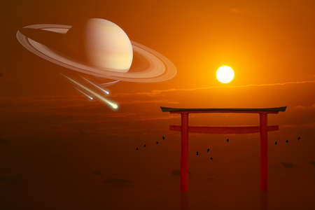Saturn over torii sunset and three metero had fall and silhouette birds flying on the sea
