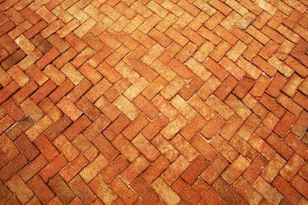 Ancient of dark orange tone brick floor pavement stones luxury wall tile interiors