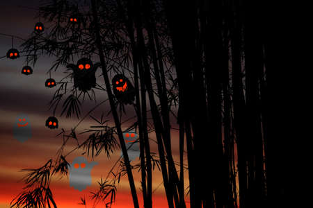Silhouette bamboo tree and leaves on branch and colorful sunset sky with party ghosts and spirits in Halloween day Stock fotó