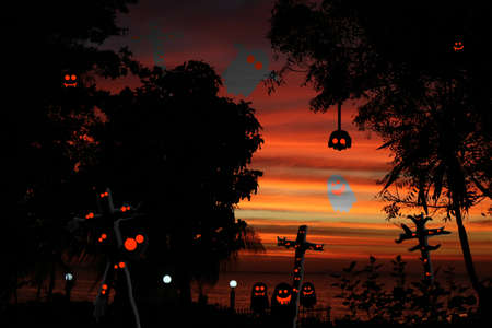 Old abandoned screaming haunt land by the sea and ghosts and spirits in Halloween day and sunset sky Stock fotó