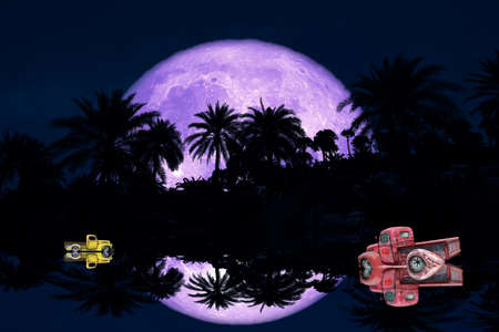 reflection of full flower purple Moon and silhouette tree in the forest night sky and car 版權商用圖片
