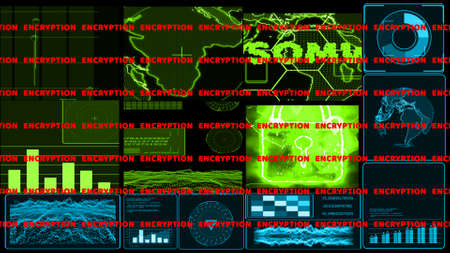 Monitor Digital CCTV green tone graph bar radar detected was attact by ransomware and encryption warning text