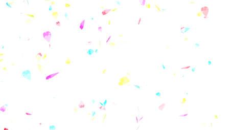 Rainbow colorful pastel sakura leaves slowly twirl falling and faded isolated background