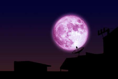 pink moon back silhouette satellite dish on night sky 版權商用圖片