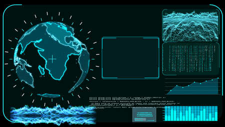 Blue monitor digital global world map and technology research develpoment analysis software