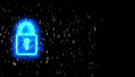 security power lock binary digital paticle explosive radial blur black isolated