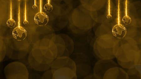 Christmas theme has world rotate blur luxury gold tone blink light background